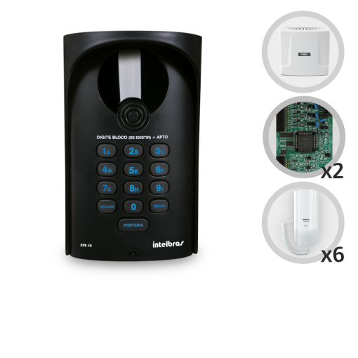 Kit Interfone Digital Completo Comunic 6 Pontos com Porteiro Eletrônico Intelbras