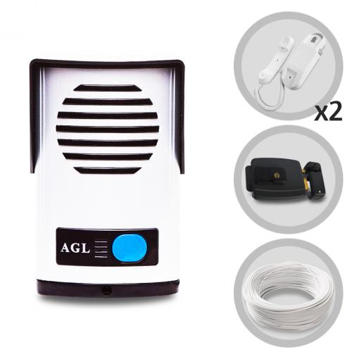 Kit Interfone Porteiro Eletrônico AGL + 01 Extensão + Fechadura Elétrica e Cabo