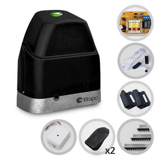 Kit Motor de Portão Eletrônico Deslizante Bopo DZ Slim POP PLUS 1/4Hp + Tx Car