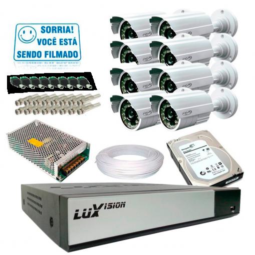 Kit PPA 8 Câmeras de Segurança Infra Dvr 16 Canais Acesso Remoto via Celular + HD 1TB