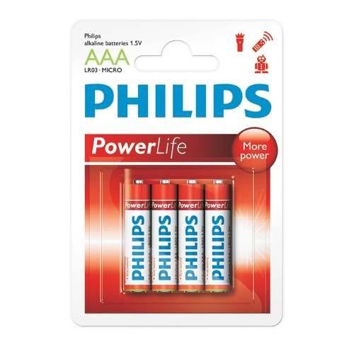 Pilha Palito Alcalina Philips AAA PowerLife (4 unidades)