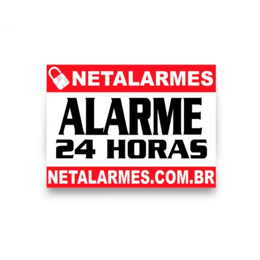 Placa de Advertência Alarme 24 horas