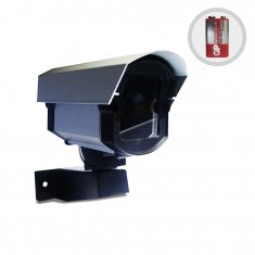 Imagem - Câmera de Segurança Falsa Com Led + Bateria e Placa