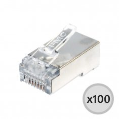 Conector Macho Blindado Plug 8x8 RJ45 - 100 Unidades