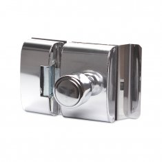 Fechadura Elétrica AGL Porta de Vidro Abertura Interna Cromada Inox Tipo Bola