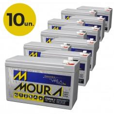Kit 10 Baterias Seladas 12V 7A Nobreak Alarmes Moura