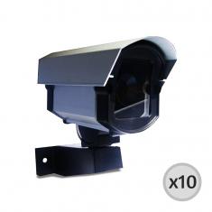 Imagem - Kit 10 Câmeras de Segurança Falsas com Led