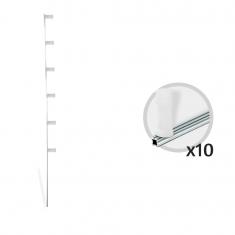 Kit 10 Hastes em Alumínio Para Cerca Elétrica Estrela com 6 isoladores