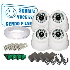 Kit 4 Câmeras de Segurança Infra 700TVL com Conectores BNC e P4 + Fonte e Cabo CF101S (sem DVR)