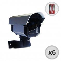 Kit 6 Câmeras de Segurança falsa com Led + Baterias e Placas