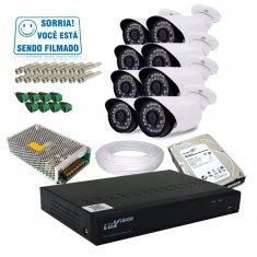 Kit 8 Câmeras de Segurança Infra e Dvr 16 Canais AHD Luxvision + HD 1TB