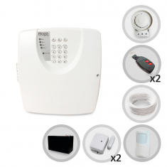 Kit Alarme Residencial ou Comercial Bopo 3 Sensores Sem Fio Discadora e Bateria