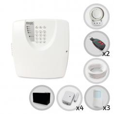Kit Alarme Residencial ou Comercial Bopo 7 Sensores Sem Fio Com Discadora e Bateria para Backup