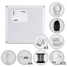 Kit Cerca Elétrica Com Alarme Sem Fio ECP 4 Sensores Para 40 Metros de Muro (Sem Bateria)