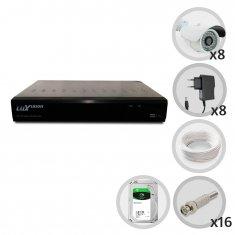 Kit CFTV 8 Câmeras de Segurança Infra DVR 16 Canais Acesso Remoto via Celular + HD 1TB