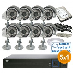 Imagem - Kit Cftv Completo 8 Câmeras Infra até 25 metros com Dvr 8 Canais PPA + HD