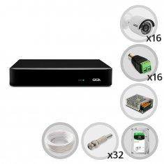Kit CFTV DVR 16 canais Open HD 1080N com 16 câmeras Bullet 720p GIGA