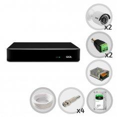 Kit CFTV Giga DVR 4 Canais Open HD 1080N 2 Câmeras Bullet 720p