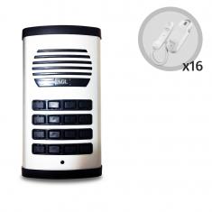 Kit Porteiro Eletrônico Coletivo AGL 16 Pontos Com 16 Monofones