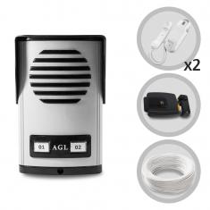 Kit Porteiro Eletrônico Coletivo 2 Pontos AGL + 01 Extensão + Fechadura Elétrica e Cabo