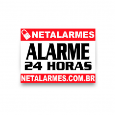 Placa de Advertência Alarme 24 horas