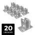 Kit 20 Suportes Para Big Haste Articulável 25x25mm