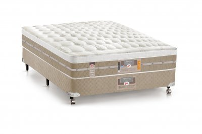 Cama Box + Colchão Castor Casal Molas Pocket Silver Star AIR One Face 128x188x72cm