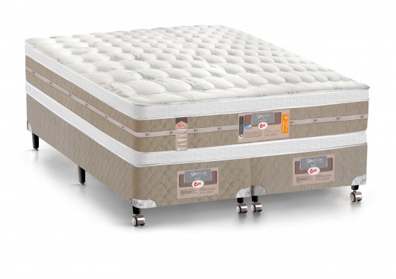Cama Box + Colchão King Size Castor Mola Pocket® Silver Star AIR com Box SI Double Face 193x203x74cm