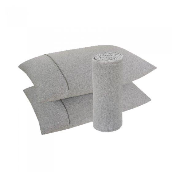 Lençol Malha 100% algodão 2 Peças Cinza 100x200x30cm