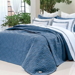 Imagem - Cobre Leito 400 fios - Fio Egípcio Giorni Azul 100% algodão Percal 180x200