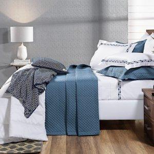 Cobre Leito 400 fios - Fio Egípcio Terni Azul 100% algodão Percal 193x203