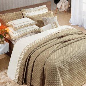 Jogo de Cama 200 fios bordado 4 Peças Reale Caqui 100% algodão Percal 193x203