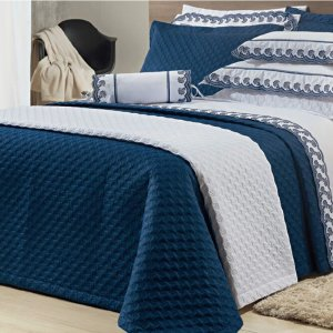 Jogo de Cama 200 fios bordado 4 Peças Reale Azul 100% algodão Percal 138x188