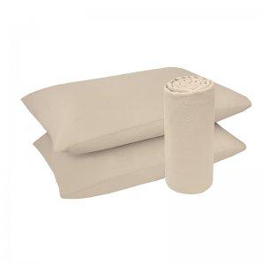 Lençol Malha 100% algodão 2 Peças Tinto Bege 088x188x30cm
