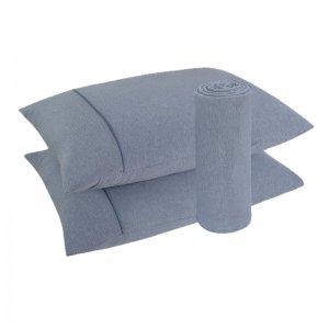 Imagem - Lençol Malha 100% algodão 3 Peças Azul 158x198x30cm