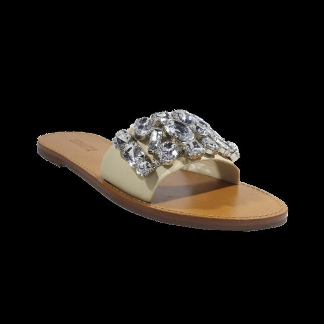 Chinelo Schutz Slide Couro Pedras Maxi Creme
