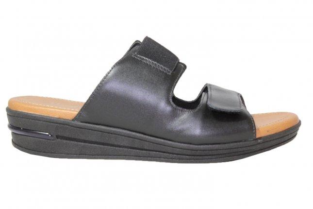 Chinelo Slide Usaflex Couro Anabela Velcro Elástico Preto