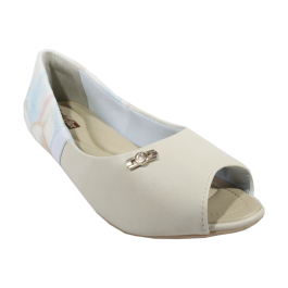 Imagem - Sapatilha Comfortflex Peep Toe Off White cód: 076860