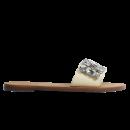 Chinelo Schutz Slide Couro Pedras Maxi Creme 2