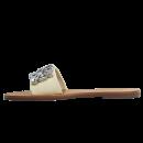 Chinelo Schutz Slide Couro Pedras Maxi Creme 3