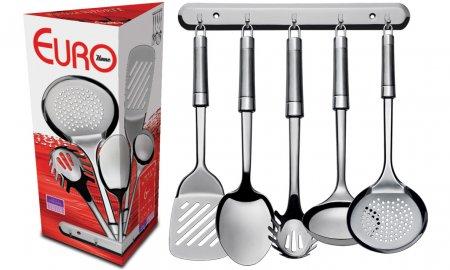 Conjunto Utensílios de Cozinha 6 Peças com Suporte IN9444 Aço Inox - Euro Home