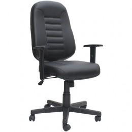 Imagem - Cadeira Presidente Giratória Couro Ecológico Preta - Poltronas Paraná