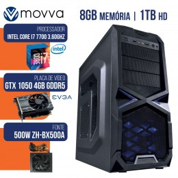 Imagem - Computador Gamer Mvx7 Intel I7 7700 8gb Hd 1tb Gtx 1050 Ti 4gb Ddr5 128bits Fonte 500w Linux - Moova