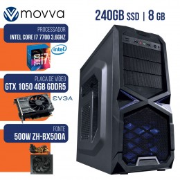 Imagem - Computador Gamer Mvx7 Intel I7 7700 7ª Mem 8gb Gtx1050 Ti 4gb Ddr5 128bit Fonte 500w Linux - Moova