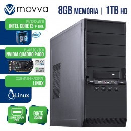Imagem - Workstation Mvwork3 Intel I3 7100 7ª 8gb Hd 1tb Placa Quadro P400 Fonte 350w Linux - Moova