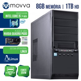 Imagem - Workstation Mvwork5 Intel I5 7400 7ª 8gb Hd 1tb Placa Quadro P600 Fonte 350w Hdmi/Vga Linux - Moova