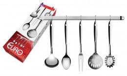 Imagem - Conjunto Utensílios de Cozinha 6 Peças Inox com Suporte IN2704 - Euro Home