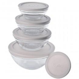 Imagem - Conjunto de Potes de Vidro 5 Peças com Tampa Branca VDR3008-BR - Euro Home