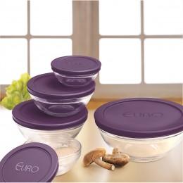 Imagem - Conjunto de Potes de Vidro 5 Peças com Tampa Roxa VDR3008-RX - Euro Home