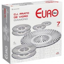 Imagem - Conjunto de Pratos Vidro Diamond 7 Peças Transparente VDR7572 - Euro Home